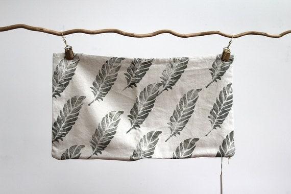 feather block printed hemp lumbar pillow cover 12 x 21
