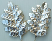 SILVER Christmas Metallic Leaves Paper Foil Millinery Flower DIY Wreath Floral Art Craft Supplies LG.