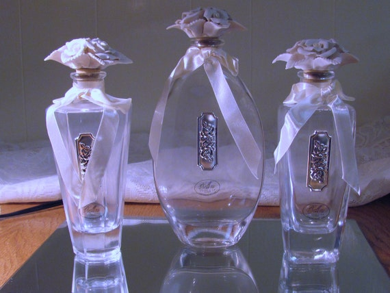 Cellini Collection Crystal Perfume Bottles Set with Porcelain Floral Stoppers and Beveled Mirror