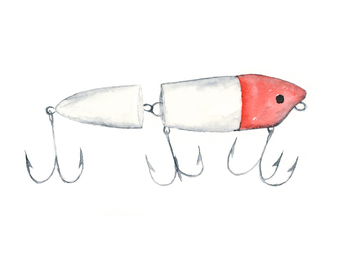 8x10 - fishing lure watercolor giclee print