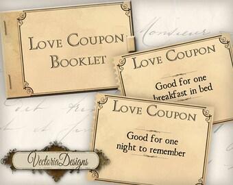 Printable Love Coupon Book Gift for Men gift for Women printable man gift printable woman gift instant download digital collage sheet VD0270
