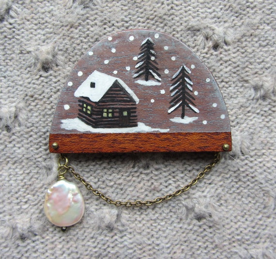 Hand painted wooden Snow Globe brooch with freshwater pearl: CABIN