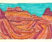 Orange and Blue Canyon, Southwest, Original Framed Landscape Drawing