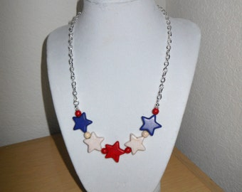 Star Power/Genuine howlite star beads in red white and blue