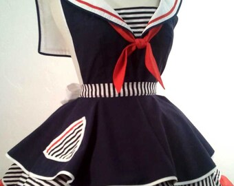 Sailor Sue Pin Up Costume Apron, Cosplay, Woman's Apron