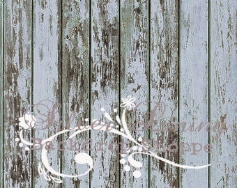 3ft x 3ft Vinyl Photography Backdrop / Peeling Blue Wood