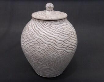 White Pottery Jar - Lidded Ceramic - Hand Carved Terracotta