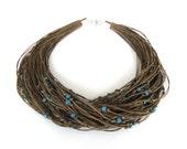 WINTER SALE - Blue multristrand necklace, linen necklace, beaded necklace, eco style wooden necklace, fall fashion, eco friendly jewelry