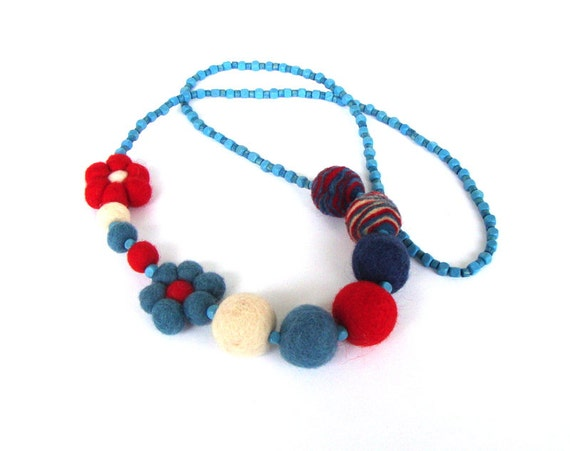 Summertime - color block necklace, felt necklace, beaded necklace, multicolor necklace, boho chic, red, blue and white