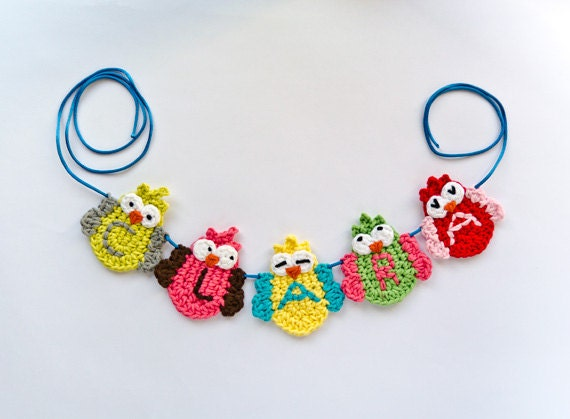 Garland of Colorful Owls - PDF Crochet Pattern - Instant Download - Home Decor Crochet Garland Christmas Ornament