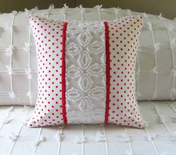 chenille pillow cover 16 X 16 RED DOTS Valentines Day cushion cover