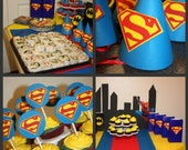 NEW Superman Birthday Party Package, Superman Party Hats, Superman Goodie Bags, Superman Cupcake Toppers 36 Pieces