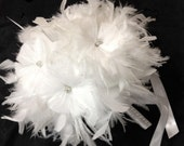 Snow White Ostrich Feather Flowers BLING Swarovski Crystal Couture Bridal Bouquet - Feathers Bride Custom Wedding Bouquets