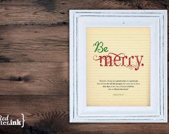 Christmas Wall Art - Be Merry (green, red, gray)  Luke 2:10-11 - 8 x 10 Print