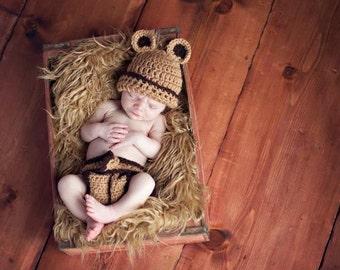 Newborn Bear Hat, Newborn Bear Diaper Cover Set, Newborn Photo Prop, Butterscotch Bear Hat, Infant Bear Hat, Teddy Bear Hat, Neutral Hat