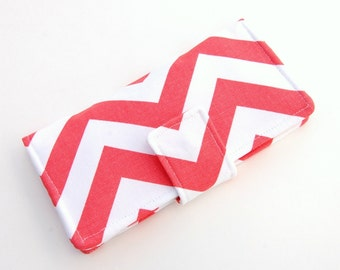 Women's Bifold Wallet - Smart Phone Clutch - Wristlet Option - Canvas Wallet - Coral Chevron - Custom Choice of Accent Fabric