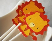 Lion Cupcake Toppers In Your Choice of Color Qty 12 By Your Little Cupcake