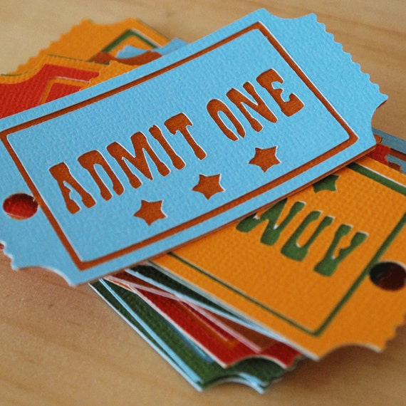 Circus Admit One Hang Tags In Your Choice of Color Qty 6 By Your Little Cupcake