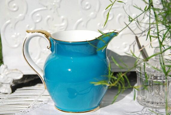 Large Vintage  AYNSLEY Creamer/Milk Jug Aqua/Turquoise England c. 1930's