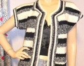 Vintage  Adorable Crochet  Striped Sweater  Sz Small