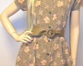 Vintage 80s Darling Flower Print Mini Dress Sz Medium