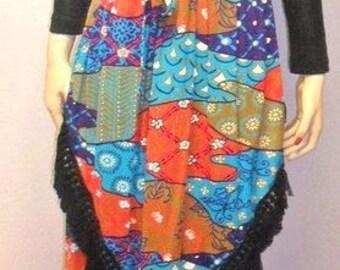 Vtg 70's Hippie Maxi Dress-with Fringe Sz Small BOHO Festival Woodstock