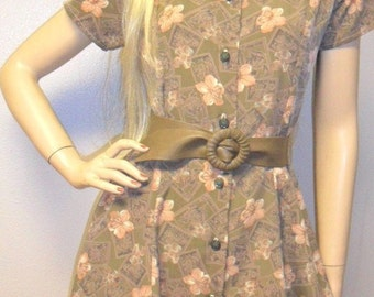 Vintage 80s Darling Flower Print Mini Dress Sz Medium