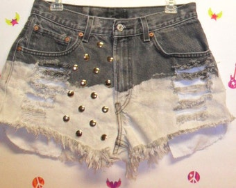 Vintage Levis  Denim Shorts - Black & Bleached  - Studded ----Waist 30  inches   ---Ready to Ship