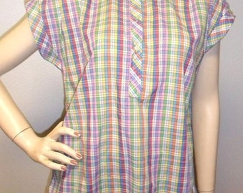 Vintage Darling Colorful Plaid Top Blouse Cuffed sleeves Sz 12--L
