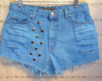 Vintage High Waisted Aqua Blue Hand Dyed Studded  Shorts -  Waist 30  inches