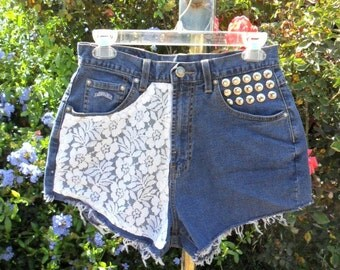 Faconnable  High Waisted  Denim Shorts -  With Lace --Waist 28  inches