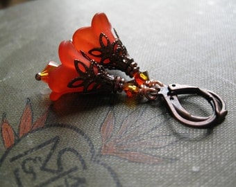 Tiger Lily Orange Earrings. Fire Fairy Flowers. Ember Blossoms