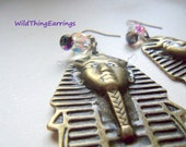 Walk Like an Egyptian Pharaoh Brass Dangle Earrings