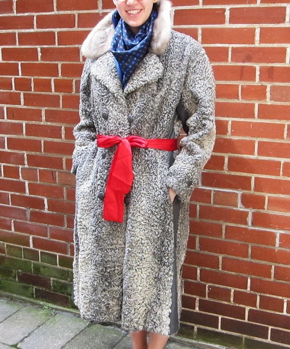 Grey curly lamb and leather vintage coat with mink collar 1970s.