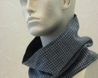Silk Businessmens Scarf Grey Black Blue Raw SIlk Suiting Circle Scarf Handmade Mens Fashion by Thimbledoodle