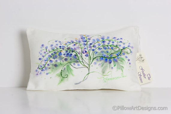 Hand Painted Floral Pillow Chalk White Lavender Blue