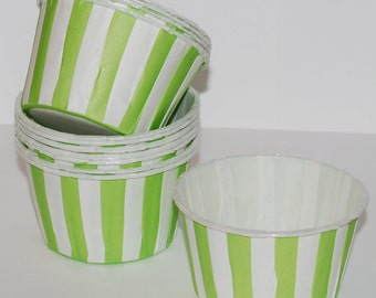 Green Stripe Candy Cups  treat Nut cups  Baking cupcake liners or muffin cups  Ice cream cup dessert cups  - 50  count