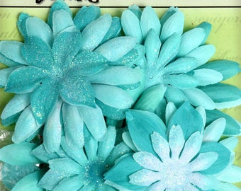 fabric flowers - Daisy Value Pack 25 pieces -  Aqua Blue 1292 -129 Fabric and Glitter Daisies