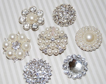 Crystal Pearl rhinestone embellishment accent flat back (7 pcs assorted mix)  bridal wedding accessories vintage button flower centers