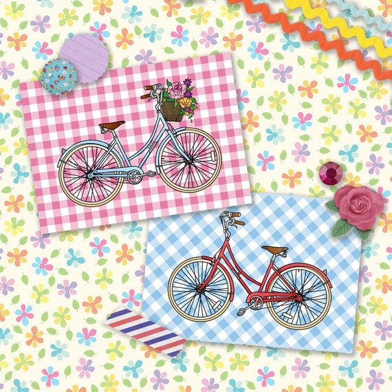 His n' Hers Bicycles Postcard Double Pack