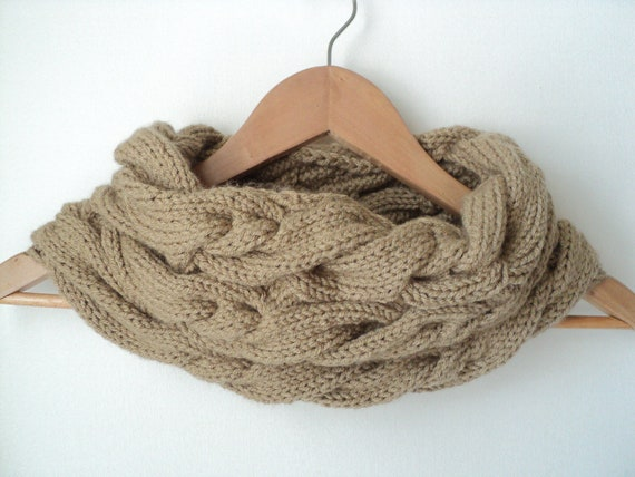 Knit Pattern Triple Cable Cowl And Fingerless Gloves From