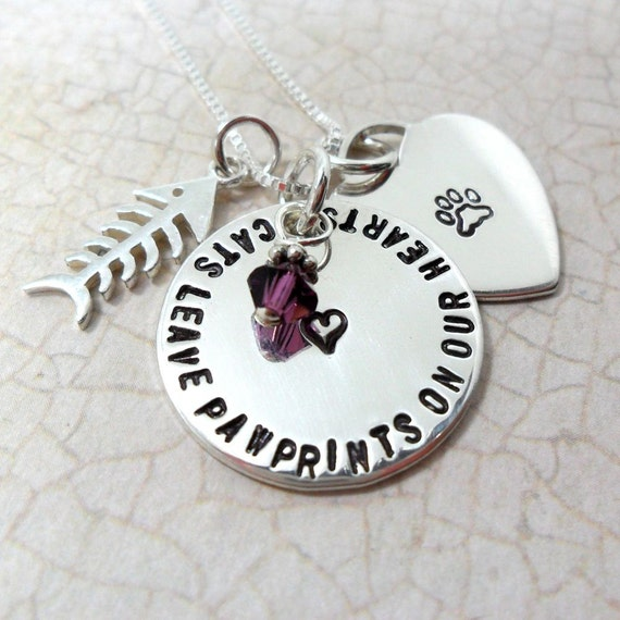 Pet Memorial Necklace | Cat Memorial Necklace |  Pet Loss Necklace | Fish Bone | Cats Leave Pawprints on Our Hearts | Paw Print | Heart