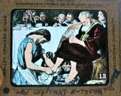 Vintage Magic Lantern Slide of Jesus Washing Disciple Feet