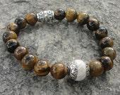 Men's Bracelet:  Tigers Eye Stone Bracelet For Men with Tibetan Horn Accent