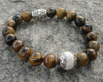 Men's Bracelet:  Tigers Eye Stone Bracelet For Men with Tibetan Horn Accent