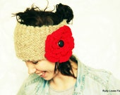 SALE Knitted Head Band Ear Warmer - Red Flower Head Band - Crochet Flower Ear Warmer