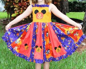 Boutique Halloween Mickey Twirl Dress