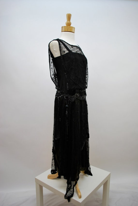 Edwardian black lace and glass bead gown