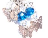 Butterfly Earrings - Butterflies - Deep Ocean Blue Czech Glass Beads - Charm, Dangle Earrings - Summer Earrings