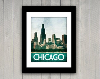 Chicago Travel Print Windy City Vintage Style Poster in Vibrant Aqua, Rich Green, Cream Textures